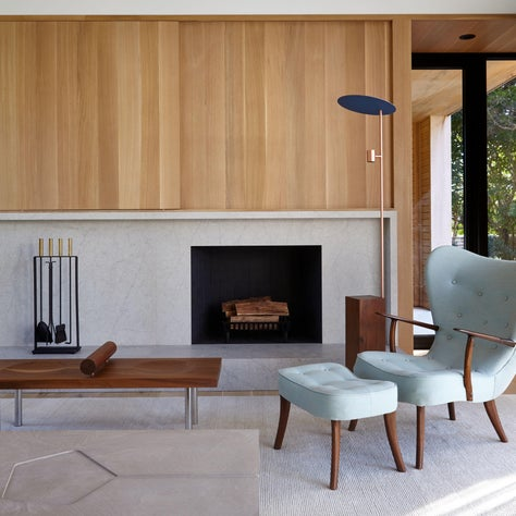Amagansett Beach House, Living Room with Fireplace Wall and Wood Details