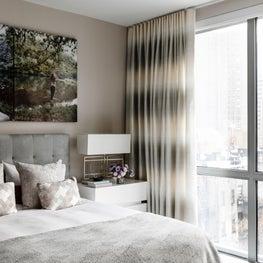 89th Street Master Bedroom, Custom Upholstered Bed, Bubble Chandelier