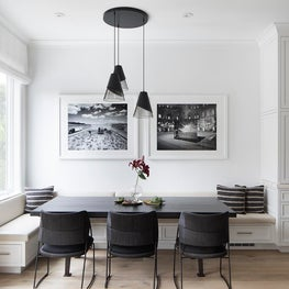 16th Ave Breakfast room with built-in banquette, tri-pendant lighting