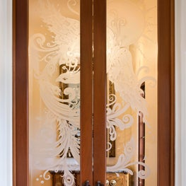 Dining Room Custom Etched Glass Doors