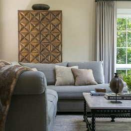 Living Room with Gold Hutch and Grey Sectional in San Mateo  - Baywood