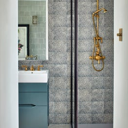 Large West London Family House, master bathroom shower with black frame