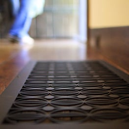 Metal floor grille in From Sphere to Eternity geometric pattern