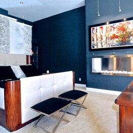 Cheval Residence, Master Bedroom Retreat, Dark Teal Walls, Eco Burning Fireplace