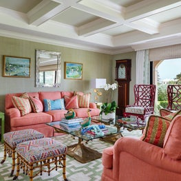 A fresh approach to a sophisticated tropical transitional living room.
