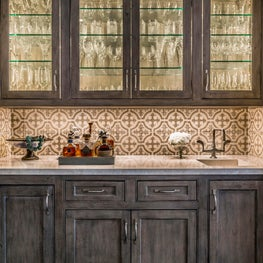 Briargrove Houston Bar With Chateau Domingue Tile Backsplash
