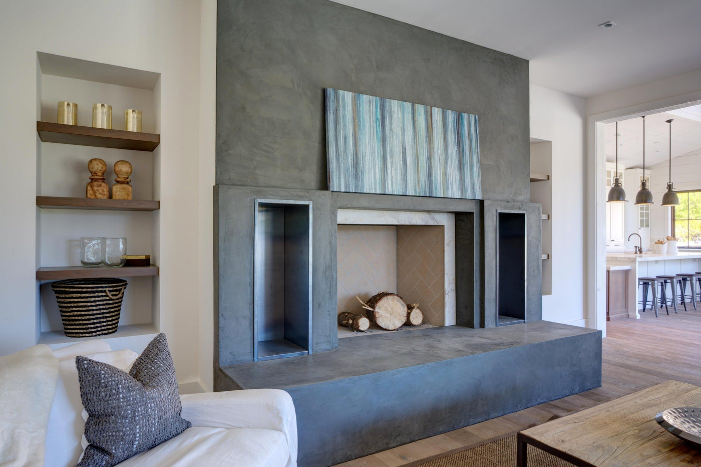 Yountville Farmhouse, Family Room with Fireplace