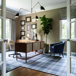 Home Office with mid-century inspired Chandelier
