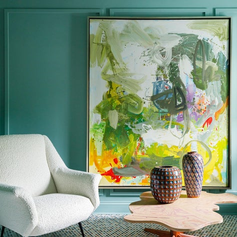 Lake Forest Showhouse 2020 : Marble Mosaic Floor, Mid Century Chair, Custom Coffee Table, Brass Fixture, Abstract Art, Green Walls