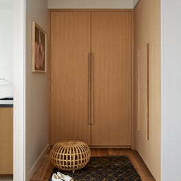 Mill Valley Scandinavian, Closet with large, simple doors, rug, and pouf