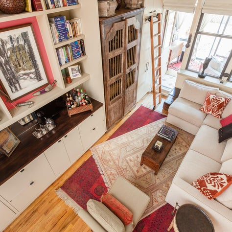Bird's eye view of a small New York Apartment from the loft bed
