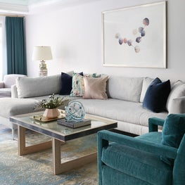 Upper East Side Living Room with green lacquered ceiling and custom coffee table