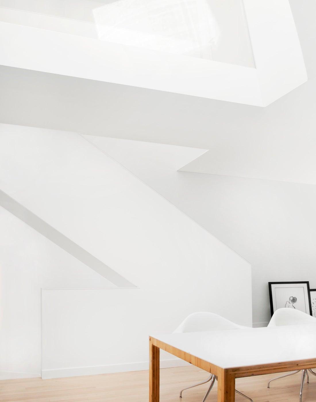 Glass Guard Rail at Stair under Skylight, Bright White Sunlight