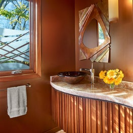 Napa cabin powder room with organic and natural elements.