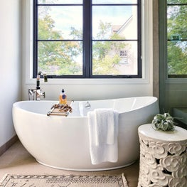 White Bathroom, White Bathtub, White Walls, Master Bathroom, Silk Rug, Limestone Tile, Waterworks Hardware - Glencoe Contemporary Project