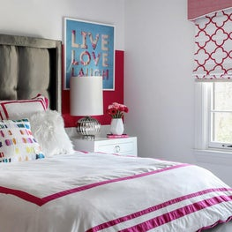 Playful White and Pink Pop Girl's Bedroom