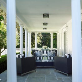 Black and White Stripped Cushioned Outdoor Furniture in Southport, Connecticut