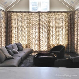 Modern embroidered linen curtains bring this Palo Alto family room to life