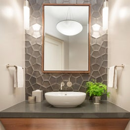 Contemporary Powder Room with textured black tile and floating walnut vanity - Los Altos Hills Residence