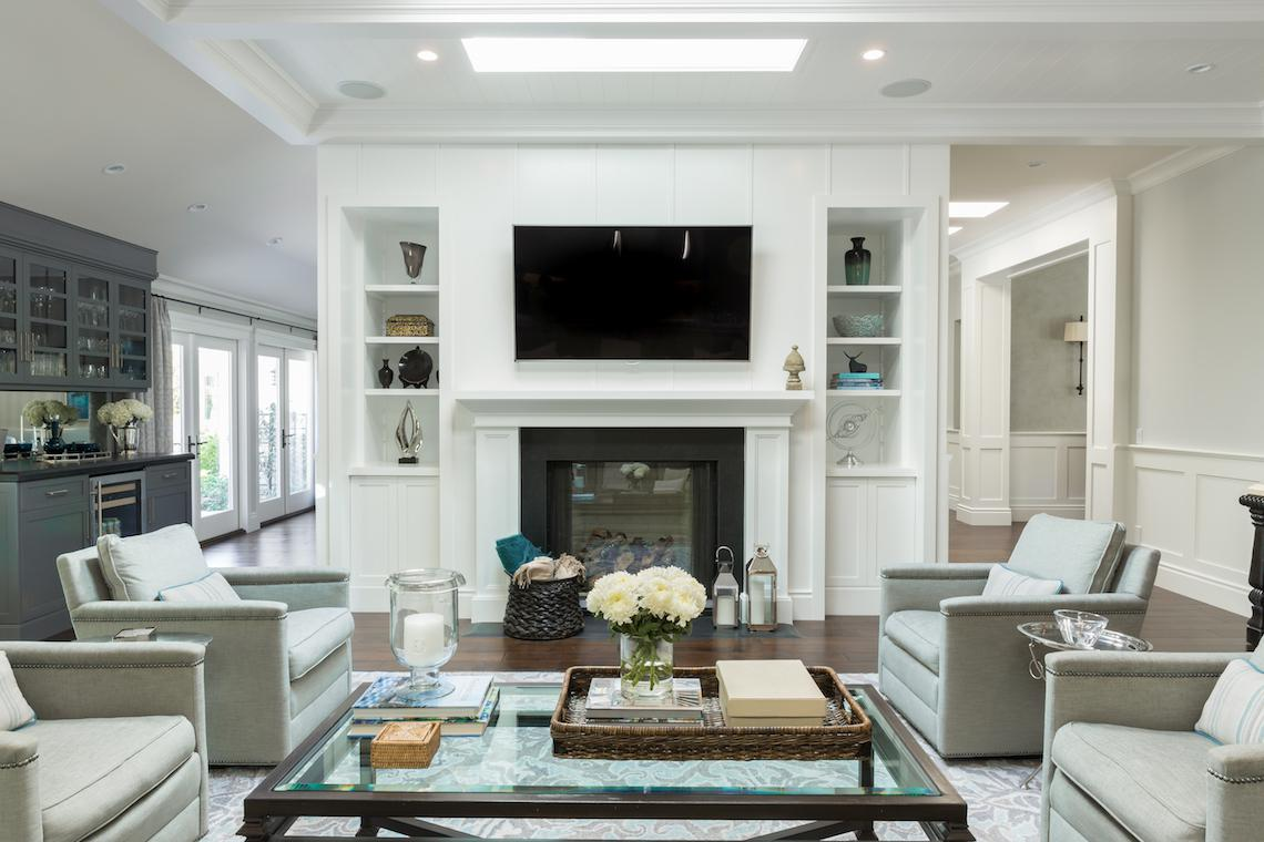 Great room with custom woodwork and cabinerty