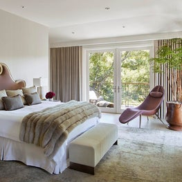 Luxury Master Bedroom with mix of vintage, antique and modern pieces, Atherton