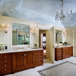 Custom Master Bathroom with Hand-Painted Ceiling by Diane Burgoyne Interiors