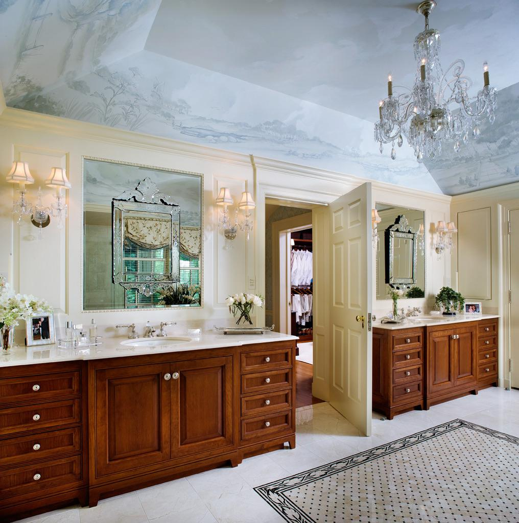 Custom Master Bathroom with Hand-Painted Ceiling by Diane Burgoyne Interiors