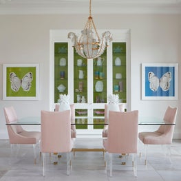 Modern Dining Room with pops of color
