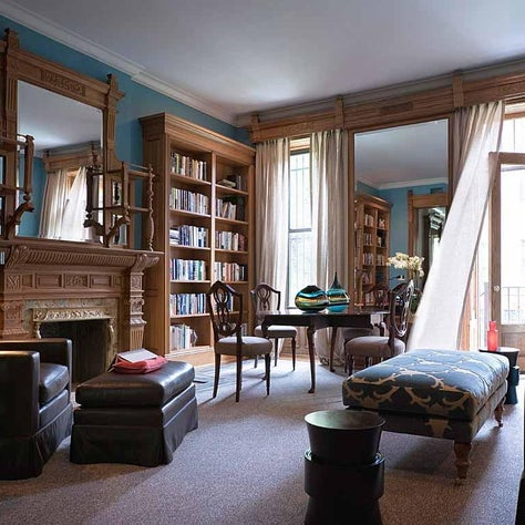 Brett Design Ombre Wallpaper in Sky Blue envelopes a Harlem townhouse library.