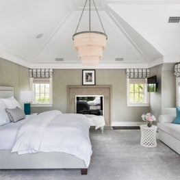Bedroom with Vaulted Ceiling & Fireplace, Turquoise Accents, Tiered Pendant