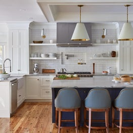 Camden Blue and White Kitchen with Open Shelving