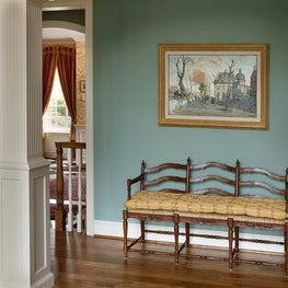 French Bench in Traditional Home by Diane Burgoyne Interiors