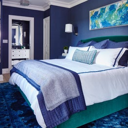 Navy and Green master bedroom