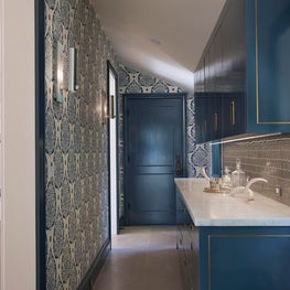Interior butlers pantry with glossy Hague blue cabinets