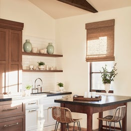 Malibu Spanish Colonial, Kitchenette Featuring Custom Cabinets with Open Shelves