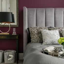 Transitional Guest Bedroom with purple accent wall - Atlanta GA