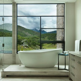 Aspen Bathroom with Modern Windows, Freestanding Tub and Glassed in Shower