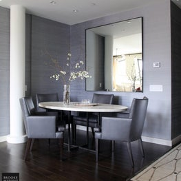 Tribeca Contemporary: Dining Alcove with Oversized Mirror & Custom Dining Table