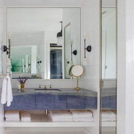 Hamptons Residence, Bathroom with custom Azul Macuaba Quartzite vanity.