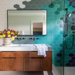 Modern Blues Hexagonal Tile Primary Bathroom
