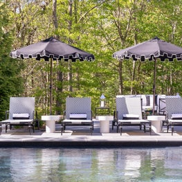 Hamptons poolside lounge area