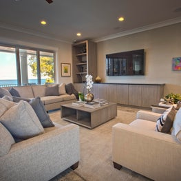 Gulf Front Residence, Living Room with custom built-in