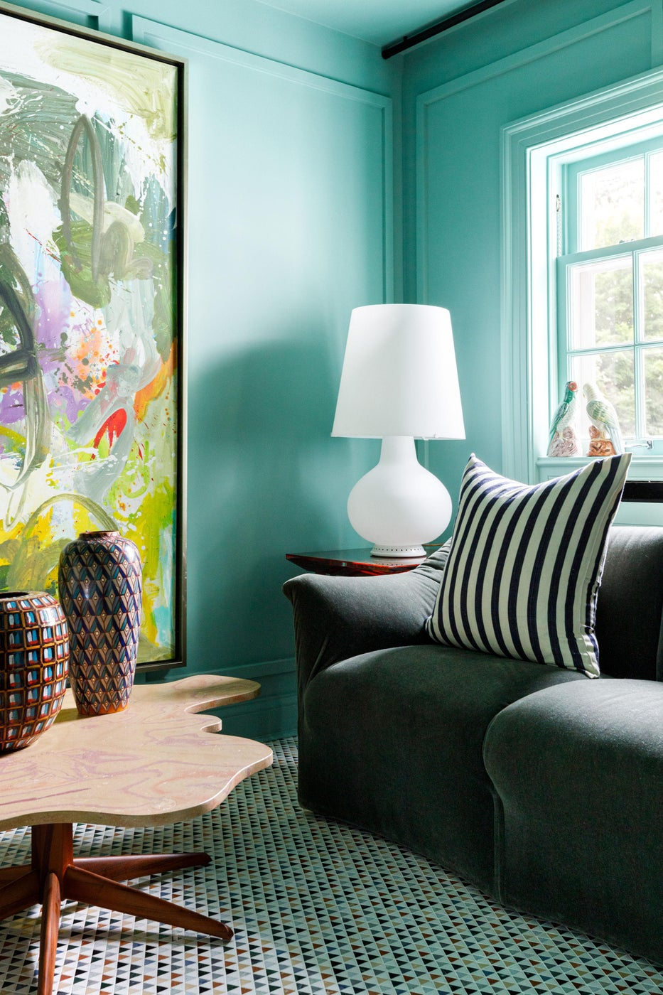 Lake Forest Showhouse 2020 : Marble Mosaic Floor, Mid Century Lamp, Mario Bellini Loveseat, Custom Coffee Table, Abstract Art, Stripe Pillow, Green Walls
