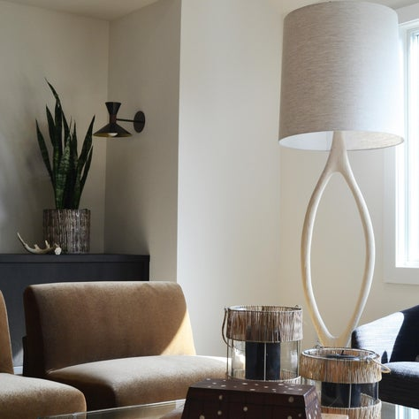 Kentfield Remodel: Living Room Vignette, Custom Upholstery, Oversized Floor Lamp, Table Styling