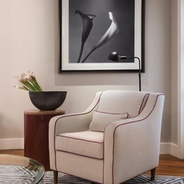 Wall St. Court Living, White Reading Chair+Purple Contrast Piping, Graphic Rug