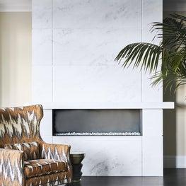Custom marble fireplace