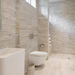 Modern white and stone bathroom