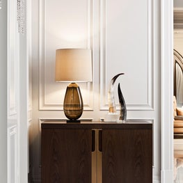 Detail shot of the Holly Hunt Cabinet in the Grand Room Vignette designed by Elizabeth Metcalfe Interiors & Design Inc.