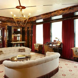 Living Room Faux Tortoiseshell Moldings and Abalone Embedded Ceiling