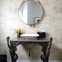 Powder room. Cast bronze vanity.
